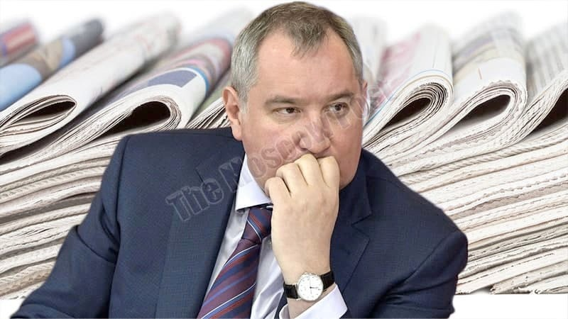"Rogozin ""covers up"" with a newspaper?"